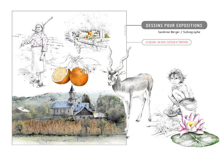 dessins de Sandrine Berger, scénographe